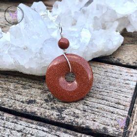 Goldstone Pi Stone Donut Pendant